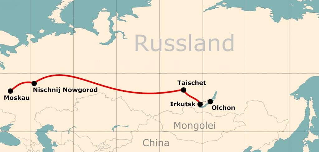 Karte von der Reiseroute 12 Tage Moskau - Baikalsee