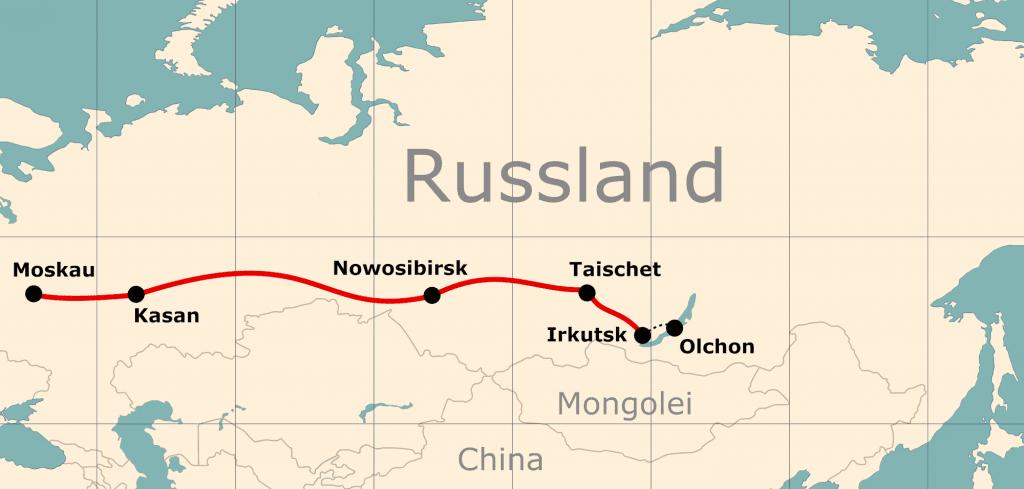 Karte von der Reiseroute 13 Tage Moskau - Baikalsee