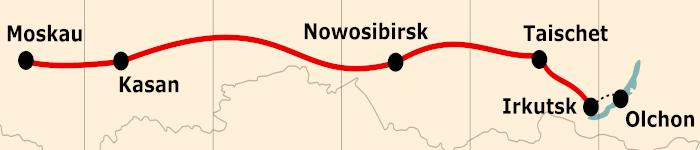 Kleine Karte von der Reiseroute 13 Tage Moskau - Baikalsee