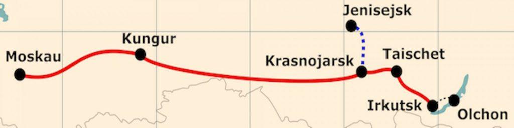 Kleine Karte von der Reiseroute 'Traumreise zum Baikalsee'