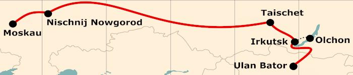 Kleine Karte von der Reiseroute 16 Tage Moskau - Ulan Bator