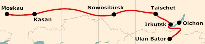Kleine Karte von der Reiseroute 17 Tage Moskau - Ulan Bator