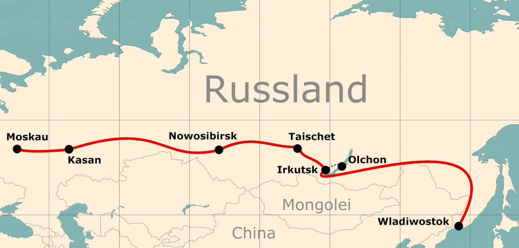 Karte der Reiseroute 17 Tage Moskau - Wladiwostok