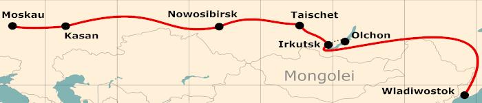 Kleine Karte von der Reiseroute 17 Tage Moskau - Wladiwostok