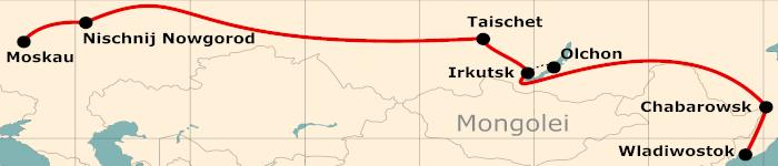 Kleine Karte von der Reiseroute 18 Tage Moskau - Wladiwostok