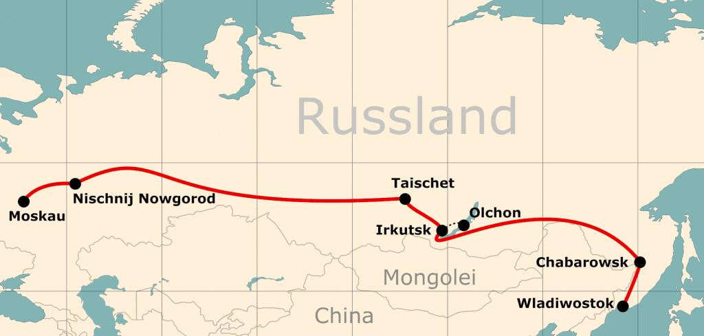 Karte von der Reiseroute 18 Tage Moskau - Wladiwostok