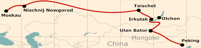Kleine Karte von der Reiseroute 19 Tage Moskau - Peking