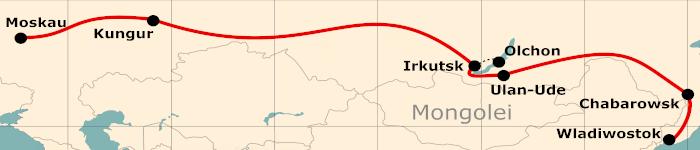 Kleine Karte von der Reiseroute 21 Tage Moskau - Wladiwostok