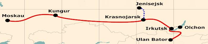 Kleine Karte von der Reiseroute 21 Tage Moskau - Ulan Bator