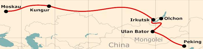 Kleine Karte von der Reiseroute 21 Tage Moskau - Peking