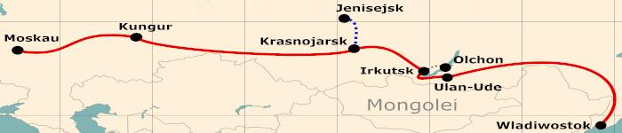 Kleine Karte von der Reiseroute 24 Tage Moskau - Wladiwostok