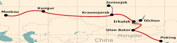 Kleine Karte von der Reiseroute 25 Tage Moskau - Peking