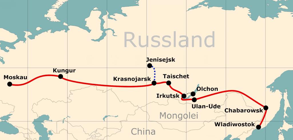 Karte von der Reiseroute 'Reise nach Wladiwostok - einmal ganz durch'