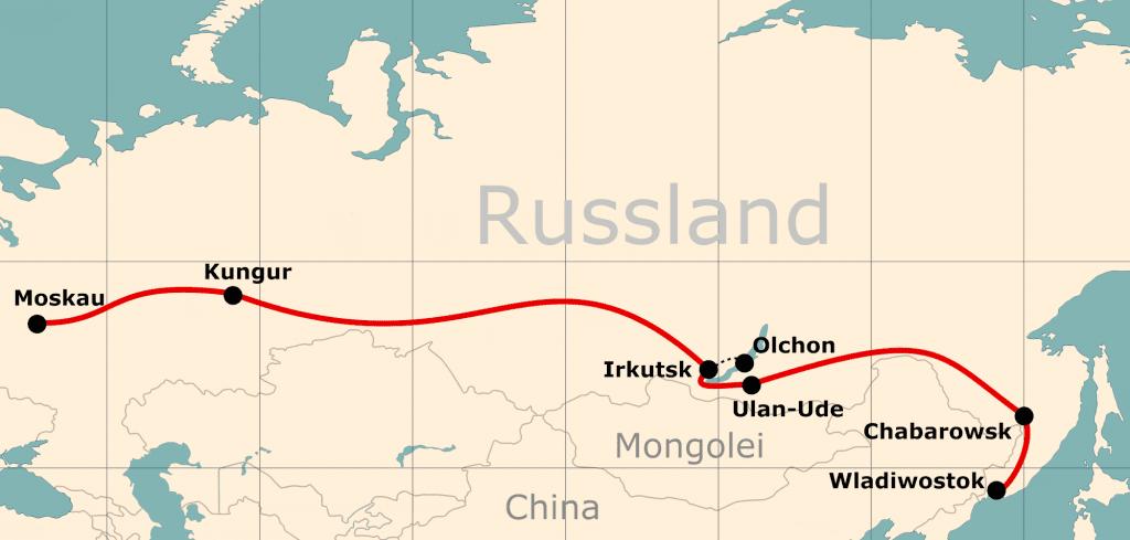 Karte von der Reiseroute 21 Tage Moskau - Wladiwostok