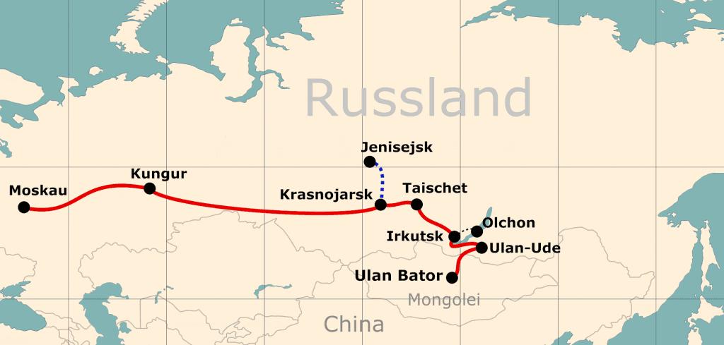 Karte von der Reiseroute 'Mit der Transsib ins Reich des Dschinghis Khan'