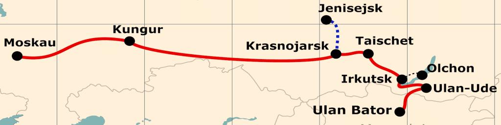 Kleine Karte von der Reiseroute 'Mit der Transsib ins Reich des Dschingis Khan'