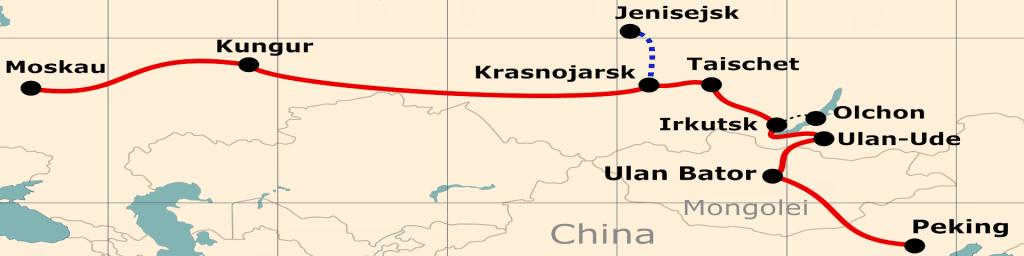 Kleine Karte von der Reiseroute 'Mit der Transsib vom Zarenhof zum Kaiserpalast'