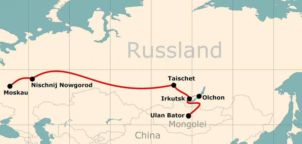 Karte von der Reiseroute 16 Tage Moskau - Ulan Bator