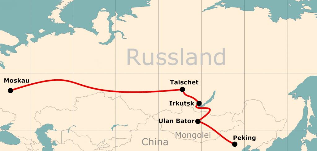 Karte von der Reiseroute 16 Tage Moskau - Peking