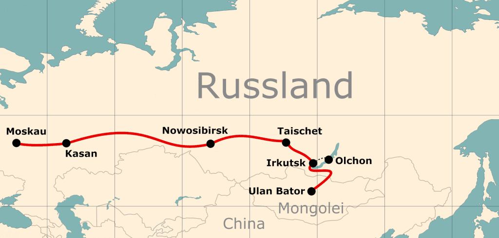 Karte von der Reiseroute 17 Tage Moskau - Ulan-Bator