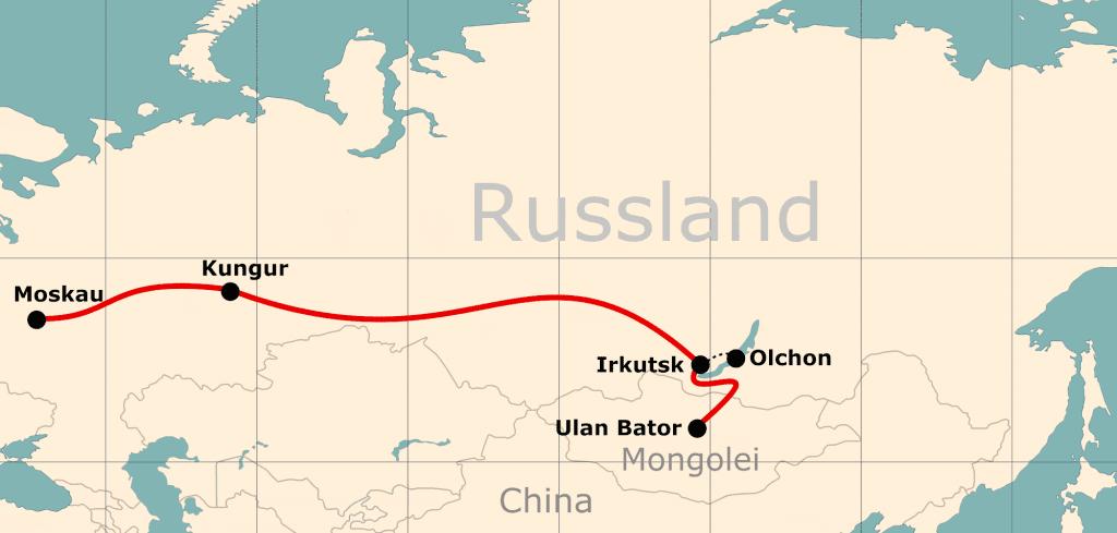Karte der Reiseroute 18 Tage Moskau - Ulan-Bator