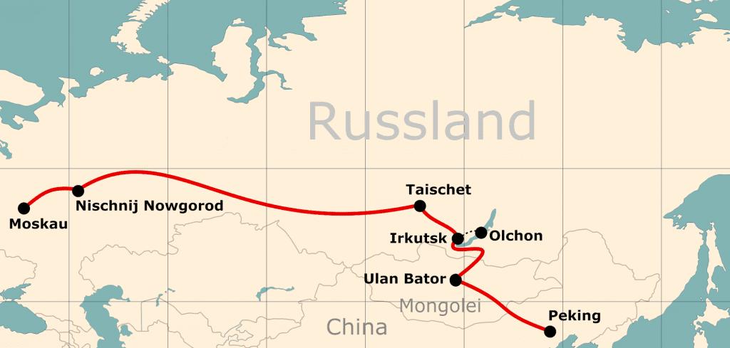 Karte der Reiseroute 19 Tage Moskau - Peking