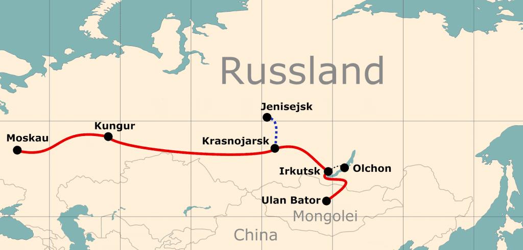 Karte von der Reiseroute 21 Tage Moskau - Ulan-Bator