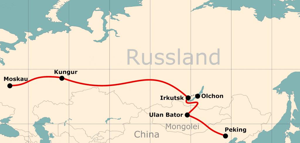 Karte von der Reiseroute 21 Tage Moskau - Peking