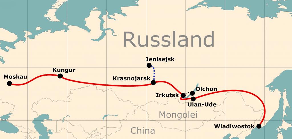 Karte von der Reiseroute 24 Tage Moskau - Wladiwostok
