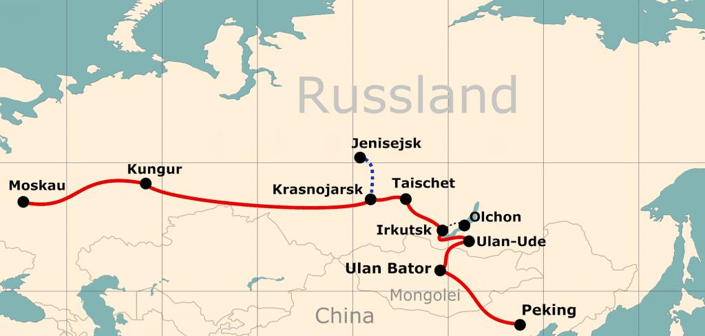 Karte von der Reiseroute 'Mit der Transsib vom Zarenhof zum Kaiserpalast'