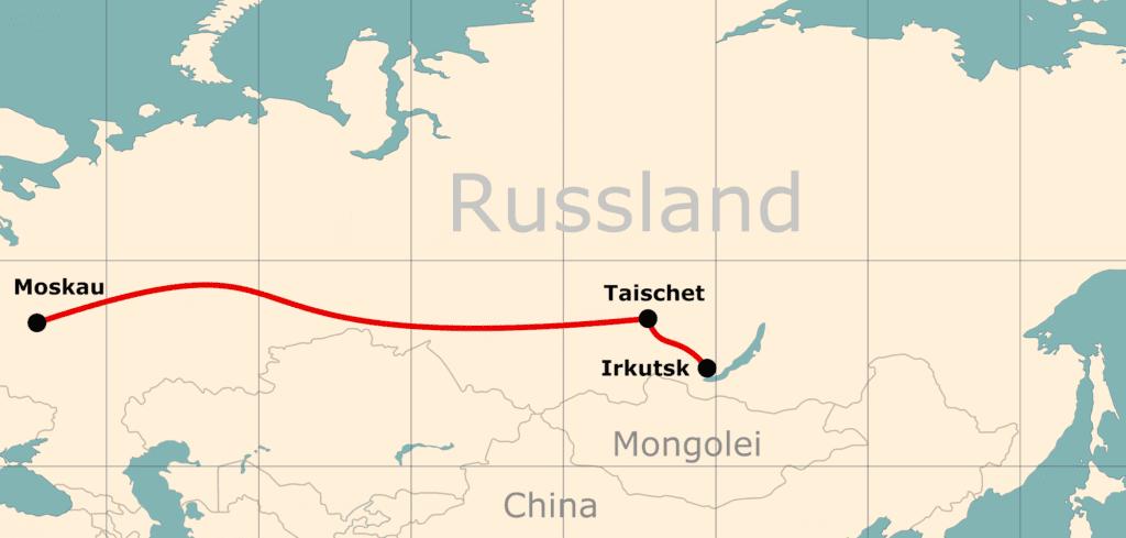 Karte von der Reiseroute 10 Tage Moskau - Baikalsee