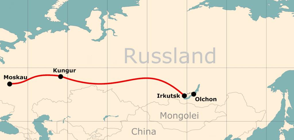 Karte von der Reiseroute 14 Tage Moskau - Baikalsee