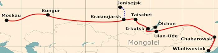 Kleine Karte von der Reiseroute 'Reise nach Wladiwostok - einmal ganz durch'