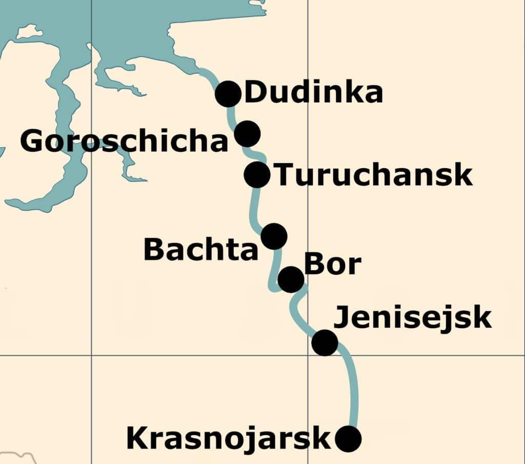 Route und Stopps des Postschiffes auf dem Jenisej