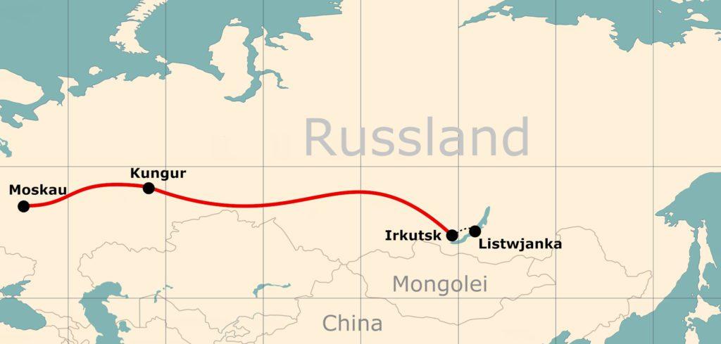 Route der Transsibirischen Eisenbahn bei der Winterreise