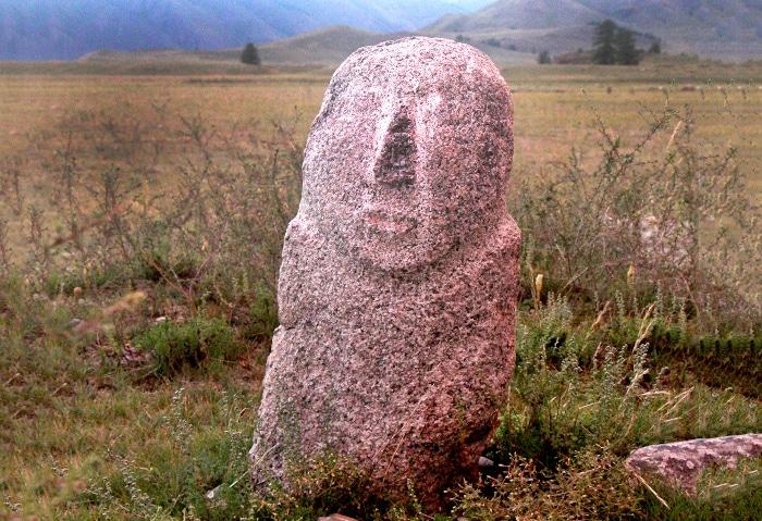 Steinfigur in Tuwa, Russland